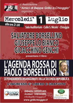 """Locandina della presentazione del libro """"L'agenda rossa di Paolo Borsellino"""""""